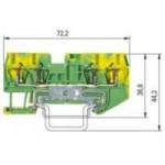 Заземителна клема WKF 1,5 D2/2SL/35, 1.5 mm², Жълто-зелена