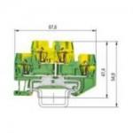 Заземителна клема WKF 1,5 E2/SL/35, 1.5 mm², Жълто-зелена