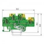 Заземителна клема WKFN 2,5 E/SL/35, 2.5 mm², Жълто-зелена