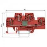 Специална клема WKFN 4 E/35 LD+PO 24 V DC, 4 mm², Червена