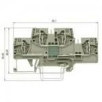 Двуетажна клема, combined WKFN E/N/D/35, 4 mm², Сива