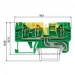 Заземителна клема WKFN 4 D1/2/SL/35, 4 mm², Жълто-зелена