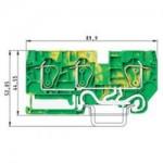 Заземителна клема WKFN 6 D1/2/SL/35, 6 mm², Жълто-зелена
