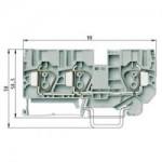 Проходна пружинна клема WKFN 10 D1/2/35, 10 mm², Сива