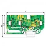 Заземителна клема WKFN 10 D1/2/SL/35, 10 mm², Жълто-зелена