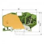 Заземителна клема WKF 16 SL/35, 16 mm², Жълто-зелена