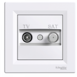 TV-SAT розеткa IEC мъжки + F, междинна 8 dB, Бял