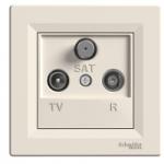 TV-R-SAT розеткa IEC мъжки + женски + F, крайна 1 dB, Крема
