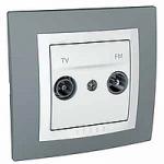 Сглобена TV/FM розетка 47-860 MHz 10 A 250 V, Техническо сиво/Бял