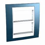 Рамка с централизираща функция Unica Plus IT 2 x 4 модула, Бял/Ледено син