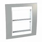 Рамка с централизираща функция Unica Plus IT 2 x 4 модула, Бял/Светло сив