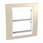 Рамка с централизираща функция Unica Plus IT 2 x 4 модула, Бял/Светло бежов