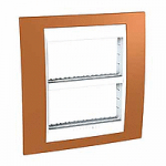 Рамка с централизираща функция Unica Plus IT 2 x 4 модула, Бял/Оранж