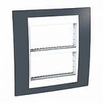 Рамка с централизираща функция Unica Plus IT 2 x 4 модула, Бял/Тъмно сив