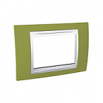 Тримодулна рамка италиански стандарт Unica Plus IT, Бял/Ярко зелен