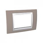 Тримодулна рамка италиански стандарт Unica Plus IT, Бял/Млечно кафяв