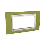 Четиримодулна рамка италиански стандарт Unica Plus IT, Слонова кост/Ярко зелен
