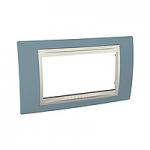 Четиримодулна рамка италиански стандарт Unica Plus IT, Слонова кост/Светло син