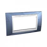 Четиримодулна рамка италиански стандарт Unica Plus IT, Слонова кост/Ледено син