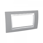 Четиримодулна рамка италиански стандарт Unica Plus IT, Слонова кост/Светло сив