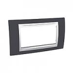 Четиримодулна рамка италиански стандарт Unica Plus IT, Слонова кост/Тъмно сив