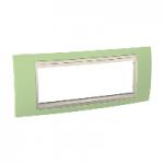 Шестмодулна рамка италиански стандарт Unica Plus IT, Слонова кост/Ябълково зелен