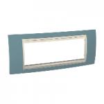 Шестмодулна рамка италиански стандарт Unica Plus IT, Слонова кост/Светло син