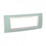Шестмодулна рамка италиански стандарт Unica Plus IT, Бял/Морско зелен