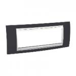 Шестмодулна рамка италиански стандарт Unica Plus IT, Бял/Тъмно сив