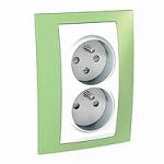 Двоен контактен излаз, 2P+E, CZ/SK, с детска защита, Бял/Ябълково зелен