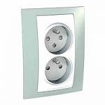 Двоен контактен излаз, 2P+E, CZ/SK, Бял/Морско зелен