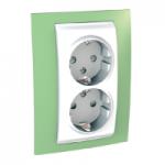 Двоен контактен излаз, странично заземяване, Бял/Ябълково зелен