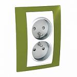 Двоен контактен излаз, 2P+E, PO/FR, Слонова кост/Ярко зелен
