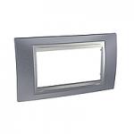 Четиримодулна рамка италиански стандарт Unica Top IT, Сив металик/Алуминий