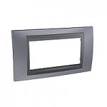 Четиримодулна рамка италиански стандарт Unica Top IT, Сив металик/Графит