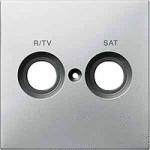Капак обозначен с R/TV+SAT за розетка за антена, Неръждаема стомана