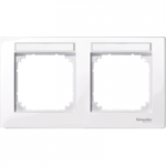 Рамка M-Plan, двумодулна, с възможност за маркировка, хоризонтален монтаж, Ативно бяло