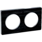 Двойна рамка, хоризонтален и вертикален монтаж, Odace Touch Aluminium, Черен дъб