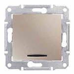 Бутон 10 A – 250 V AC, със синя глим-лампа, Титаний
