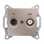TV/SAT розетка, последна в серия, 1 dB, Титаний