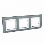 Тройна рамка Unica Basic, Техническо сиво/Бял