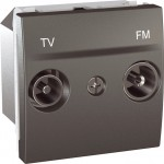 Розетка TV/FM за системи с паралелно разпределение, единствен изход, двумодулна, Графит