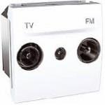 Розетка TV/FM за системи с паралелно разпределение, единствен изход, двумодулна, Бял