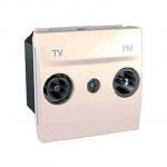 Розетка TV/FM за системи с паралелно разпределение, единствен изход, двумодулна, Слонова кост