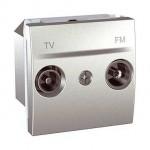 Розетка TV/FM за системи с паралелно разпределение, единствен изход, двумодулна, Алуминий