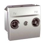 Розетка TV/FM за системи със серийно разпределение, последна в серия, двумодулна, Алуминий