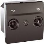 Розетка TV/FM за системи със серийно разпределение, междинна в серия, двумодулна, Графит