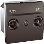 Розетка R-TV/SAT за системи с паралелно свързване, единствен извод, двумодулна, Графит