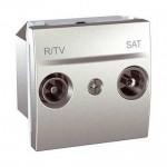 Розетка R-TV/SAT за системи с паралелно свързване, единствен извод, двумодулна, Алуминий