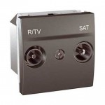 Розетка R-TV/SAT за системи със серийно свързване, последна в серия, двумодулна, Графит